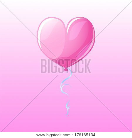 Glossy heart air balloon on pink background. Valentine day vector clipart. Romantic heart balloon square banner template. Cartoon heart drawing for St. Valentine day. Love and romance symbol heart