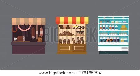 Fruit, vegetables, milk products, meat, bakery shop stall vector set. vector illustration. Food supermarket shop store