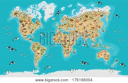 World Map animal highly detailed vector illustration