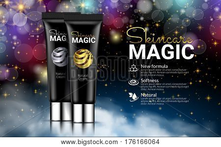 Black Cream Bottles on Black Magic Background. Excellent Cosmetics Advertising, Gentle Creams. Cosmetic Package Design Sale or Promotion New Product. 3D Vector Illustration.