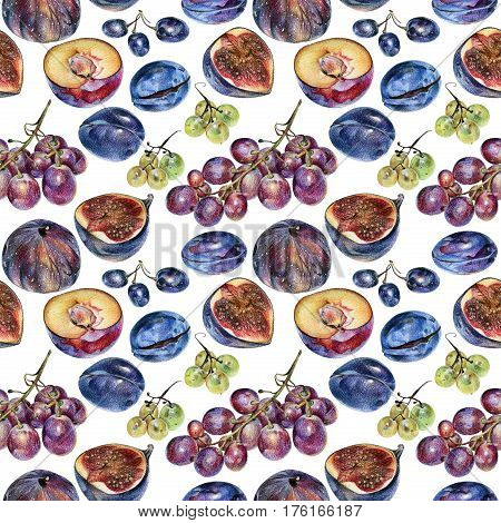 Seamless pattern with berries drawn by hand with colored pencil. Healthy vegan food. Fresh raw foodstuffs painted from nature
