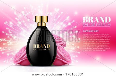 Aroma Liquid. Cosmetic Fragrance. Beautiful Black Bottle Womens Perfume Products With Spring Pink Flowers on Blurred Light Bokeh Background. Baner Template on your text. 3d Vector Illustration.