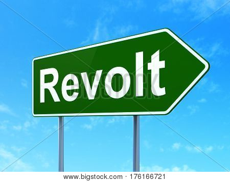Political concept: Revolt on green road highway sign, clear blue sky background, 3D rendering
