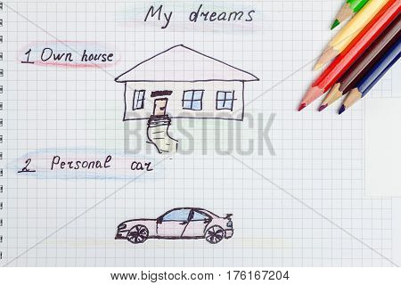 My dream own house and personal car written text and drawing on the notepad color pencils. concept of visualization future