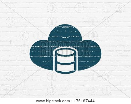 Cloud technology concept: Painted blue Database With Cloud icon on White Brick wall background with Scheme Of Binary Code