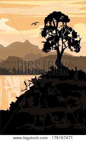 Silhouette of a tree and hill with a view of a lake and mountains. Eps10