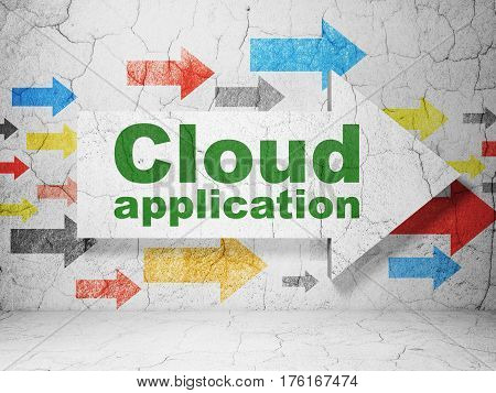 Cloud networking concept:  arrow with Cloud Application on grunge textured concrete wall background, 3D rendering