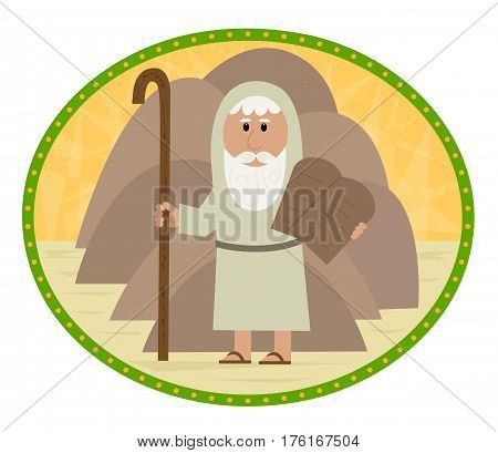 Clip art of Moses carrying the ten commandments. Eps10