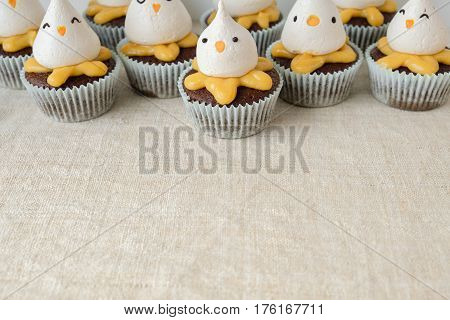 Easter chick meringue and lemon chocolate cupcakes