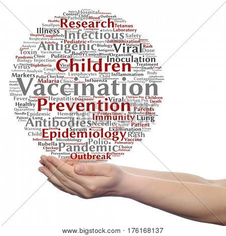 Concept or conceptual children vaccination or viral prevention circle word cloud in hand isolated on background