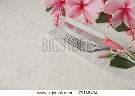 Hawaii Hibicus Flower Table setting copy space background selective focus vintage tone
