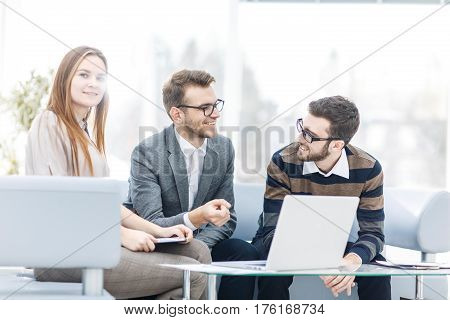 managers of the company and the client, discussing the terms of the new agreement.the photo has a empty space for your text.