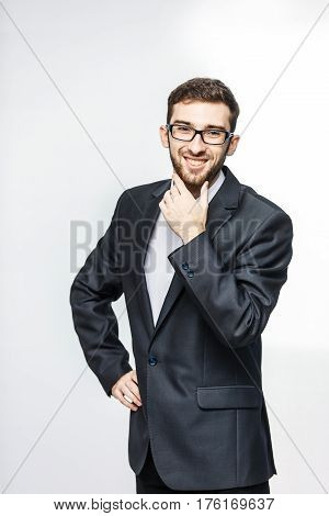 successful lawyer in a business suit on a white background.the photo has a empty space for your text.