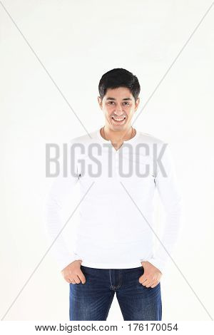 portrait of a energetic young man in white shirt on white background. the photo has a empty space for your text