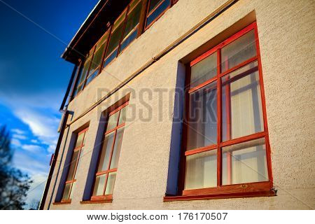 Two Wooden Windows On The Wall