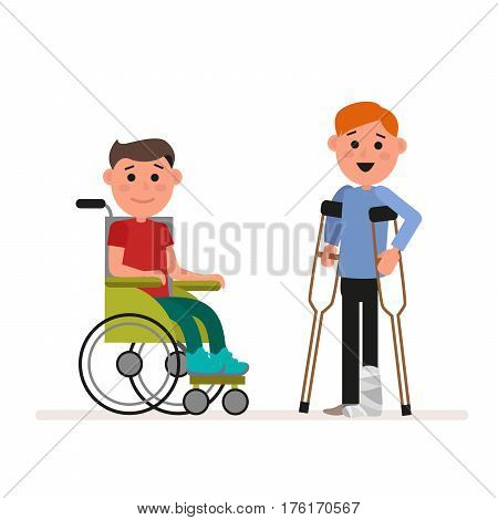 Special needs children or handicapped children. Boy is sitting in a wheelchair. Child is standing with crutches. Flat character isolated on white background. Vector, illustration EPS10