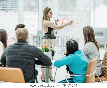 advertising Manager will present the new project of the company in the spacious office.the photo has a empty space for your text