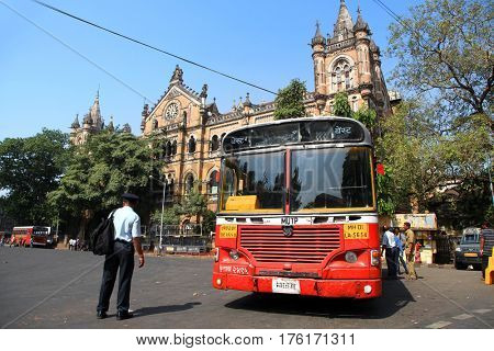 Mumbai, INDIA - December 6 : Buses take up over 90% of public transport in Indian cities and serve as a cheap and convenient mode of transport, on December 6,2015 Mumbai, India
