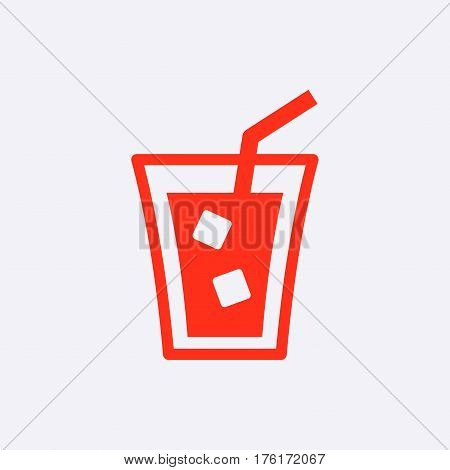 glass of water with ice icon stock vector illustration flat design