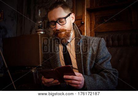 Portrait Of Handsome Adult Man Sending A Text Message,business Man Reading Messages,stylish Brunette