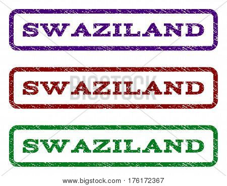 Swaziland watermark stamp. Text caption inside rounded rectangle with grunge design style. Vector variants are indigo blue, red, green ink colors. Rubber seal stamp with scratched texture.