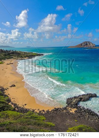 View of Makapu'u Beach and Rabbit Island