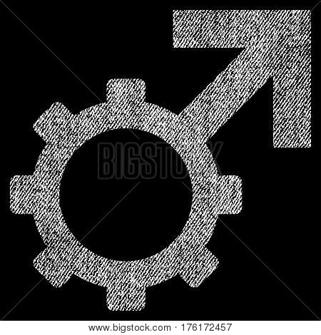 Technological Potence vector textured icon for overlay watermark stamps. Fabric white vectorized texture. Symbol with unclean design. Rubber seal stamp with fiber textile structure.