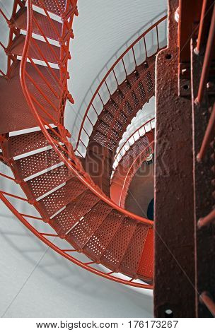 Spiral Staircase in the Piedras Blancas Lighthouse on the Central California Coast just north of San Simeon California USA