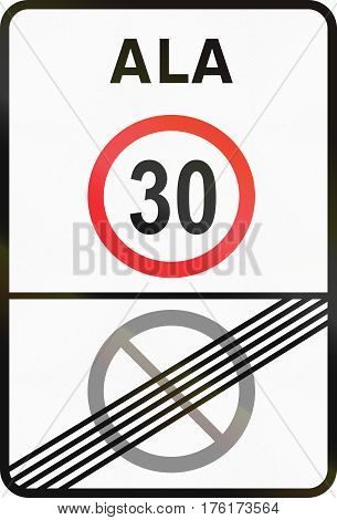 Road Sign Used In Estonia - Speed Limit Zone And End Of No Parking Zone. Ala Means Zone