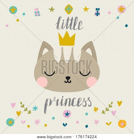Little Princess. Cute Little Cat With Crown. Fashion Pussycat. Childish Postcard