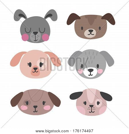 Set Of Cute Dogs. Funny Doodle Animals. Puppies In Cartoon Style