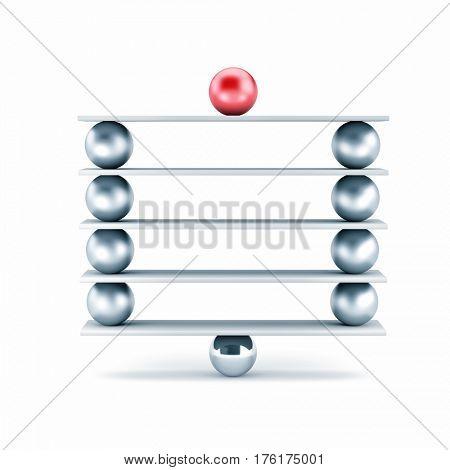 Metal balls on plank - different metaphor. 3d illustration