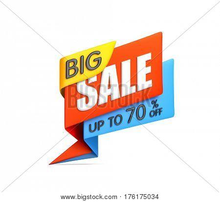 Big sale banner - business metaphor. 3d illustration