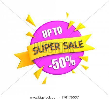 Super sale banner - big clearance. 3d illustration