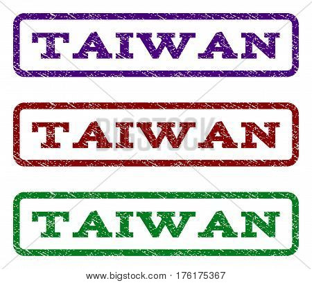 Taiwan watermark stamp. Text tag inside rounded rectangle frame with grunge design style. Vector variants are indigo blue, red, green ink colors. Rubber seal stamp with scratched texture.