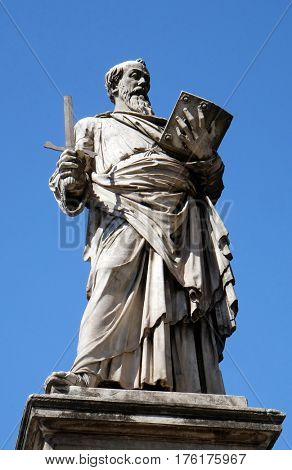 ROME, ITALY - SEPTEMBER 03: Statue of Apostle saint Paul on the Ponte Sant Angelo in Rome, Italy  on September 03, 2016.