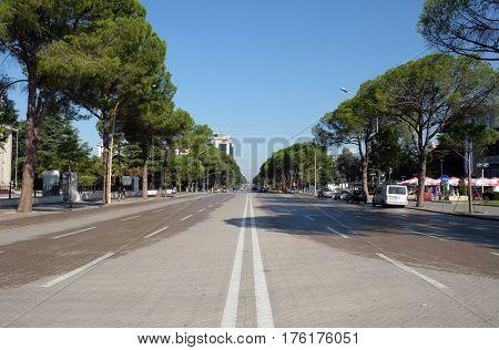 TIRANA, ALBANIA - SEPTEMBER 29: View along the boulevard Bulevardi Deshmoret e Kombit in Tirana, Albania on September 29, 2016.