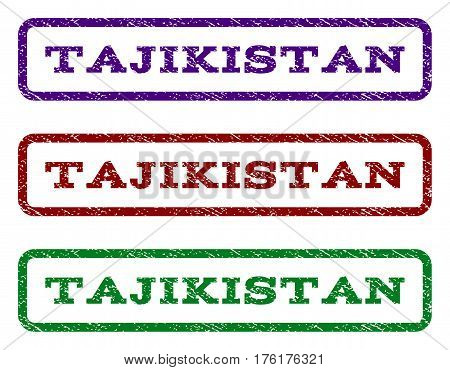 Tajikistan watermark stamp. Text caption inside rounded rectangle with grunge design style. Vector variants are indigo blue, red, green ink colors. Rubber seal stamp with unclean texture.