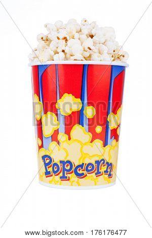 Bucket full of popcorn, isolated on white