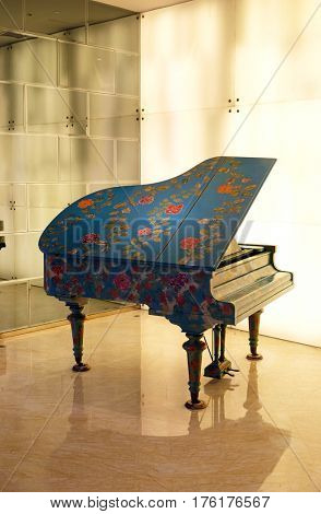 SHANGHAI, CHINA - FEBRUARY 26: The piano in the lobby of the hotel Dorsett Shanghai in the Pudong district opposite Century Park, on February 26, 2016 in Shanghai, China.