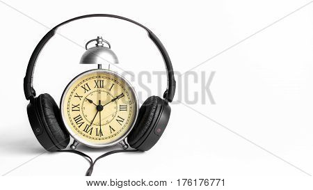 Vintage Alarm Clock with Roman Numeral and White Background for Copy Space. Listening to Music Concept and Relaxtion Cozy Mood