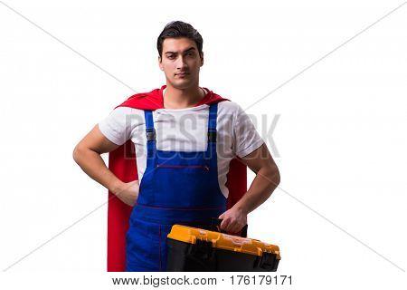 Super hero repairman isolated on the white