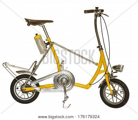 close up yellow bicycle small wheel isolated on a white background with clipping path