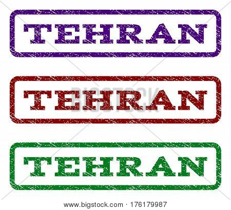 Tehran watermark stamp. Text tag inside rounded rectangle frame with grunge design style. Vector variants are indigo blue, red, green ink colors. Rubber seal stamp with scratched texture.