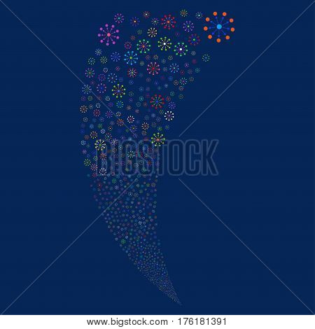 Expanse random fireworks stream. Vector illustration style is flat bright multicolored iconic symbols on a blue background. Object fountain constructed from scattered icons.