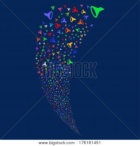 Filter random fireworks stream. Vector illustration style is flat bright multicolored iconic symbols on a blue background. Object fountain combined from scattered pictographs.