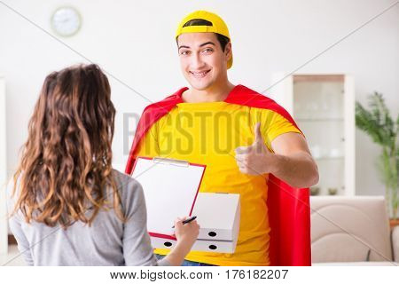 Superhero pizza delivery guy with red cover
