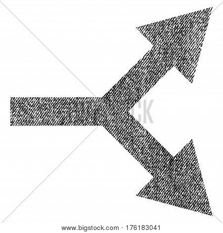 Bifurcation Arrow Right vector textured icon for overlay watermark stamps. Fabric black vectorized texture. Symbol with dust design. Rubber seal stamp with fiber textile structure.