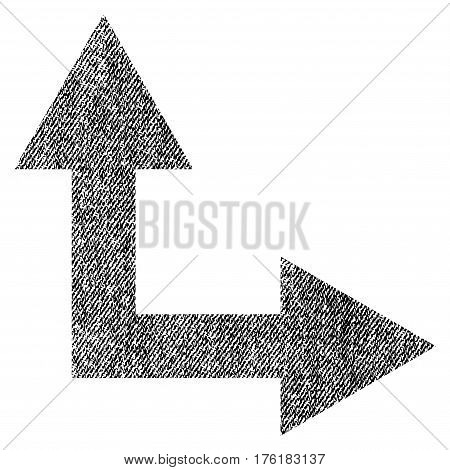 Bifurcation Arrow Right Up vector textured icon for overlay watermark stamps. Fabric black vectorized texture. Symbol with unclean design. Rubber seal stamp with fiber textile structure.