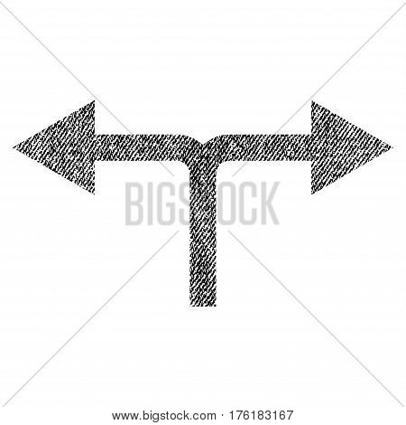 Bifurcation Arrows Left Right vector textured icon for overlay watermark stamps. Fabric black vectorized texture. Symbol with scratched design. Rubber seal stamp with fiber textile structure.